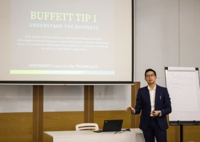 Sharing session on Warren Buffett's method of finding companies to invest in.